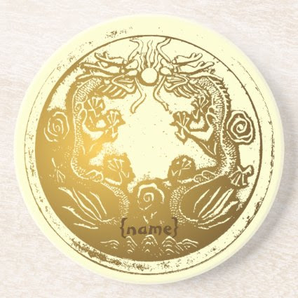 Distressed Golden Chinese Dragon Prosperity Wishes Coasters