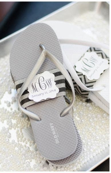 Old Navy flip flops wrapped in band with couple's monogram