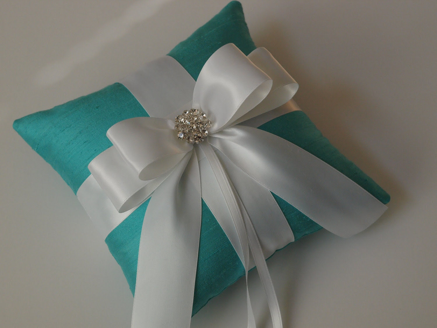 Tiffany Blue Ring Pillow with White Bow and Rhinestones -Helen