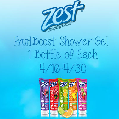 Zest FruitBoost Shower Gel Giveaway. Ends 4/30