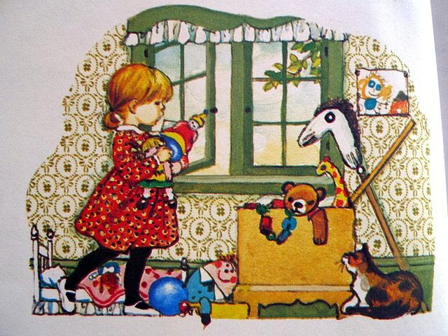 Girl in toy room; art by eloise wilkin