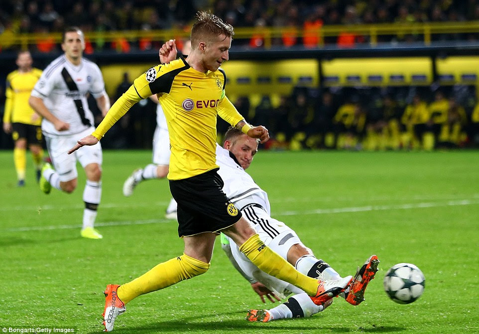 Reus scored his third goal and the 12th of the match two minutes into injury time to rewrite Champions League history books