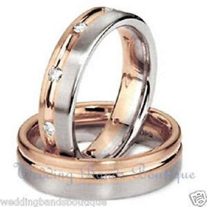10k White Rose Pink Gold His Hers Matching Wedding Bands