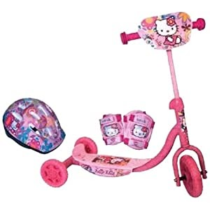 top preis d 39 arpeje ohky07 hello kitty roller mit 3 r dern helm 2 sch tzer hudora scooter. Black Bedroom Furniture Sets. Home Design Ideas