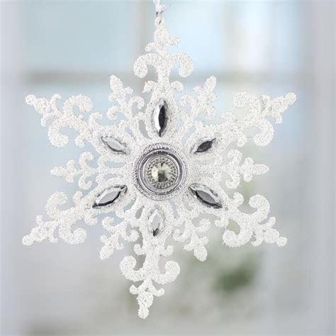 Sparkling Rhinestone Jewel Snowflake Ornament   Snow