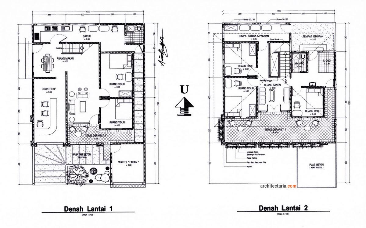 Desain Rumah Tinggal Sekaligus Rumah Kost Counter HP Wartel Atau