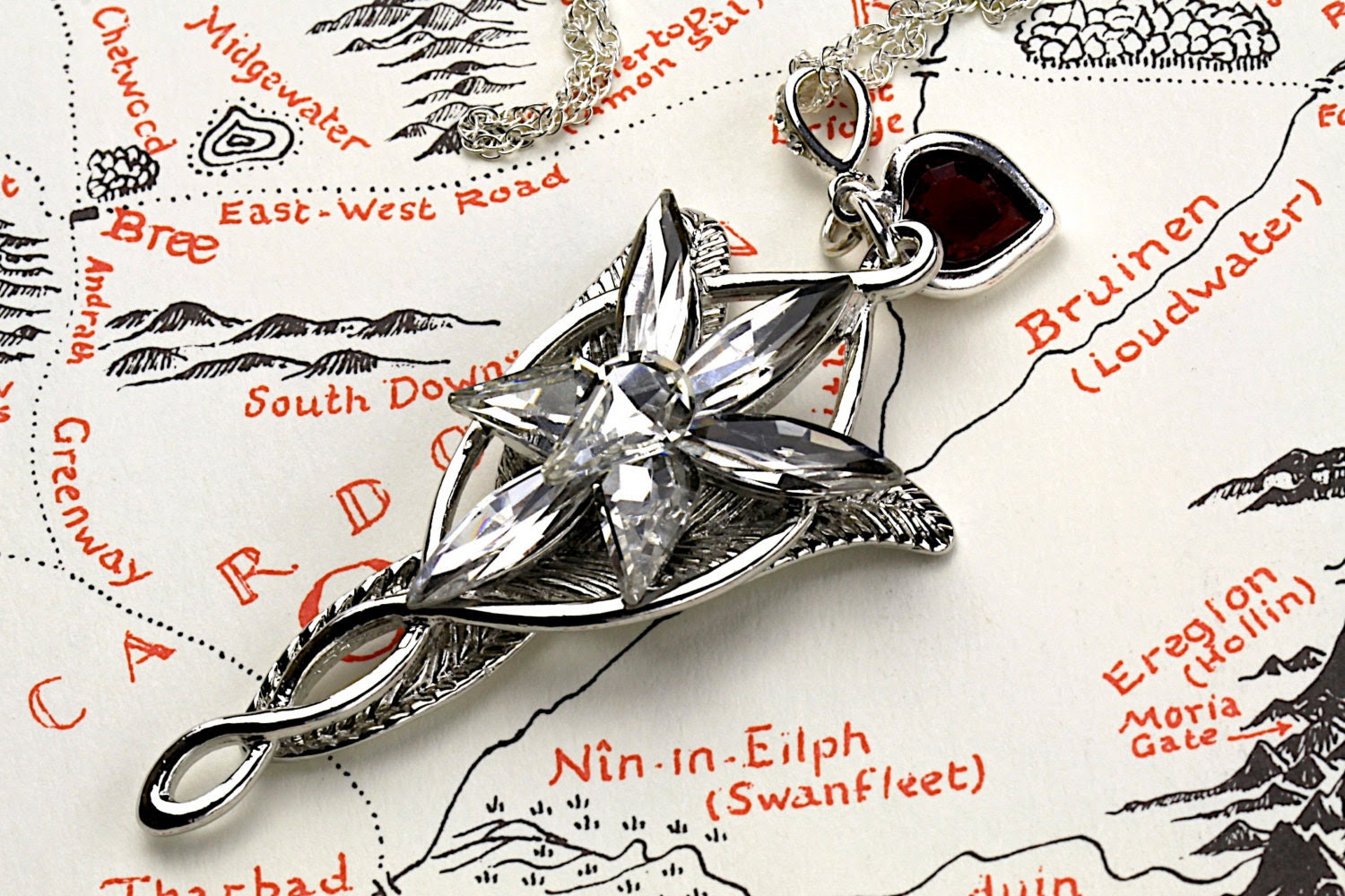 Arwen Evenstar Necklace with Heart LOTR Lord of the Rings