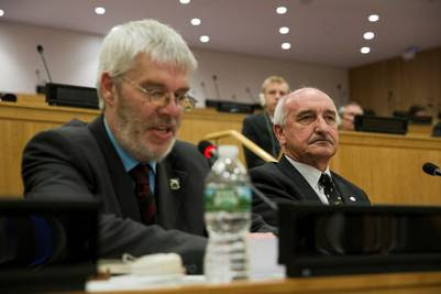 Mike Summers, durante la reunión del C24, de las Naciones Unidas, en Nueva York. (Adriana Groisman)