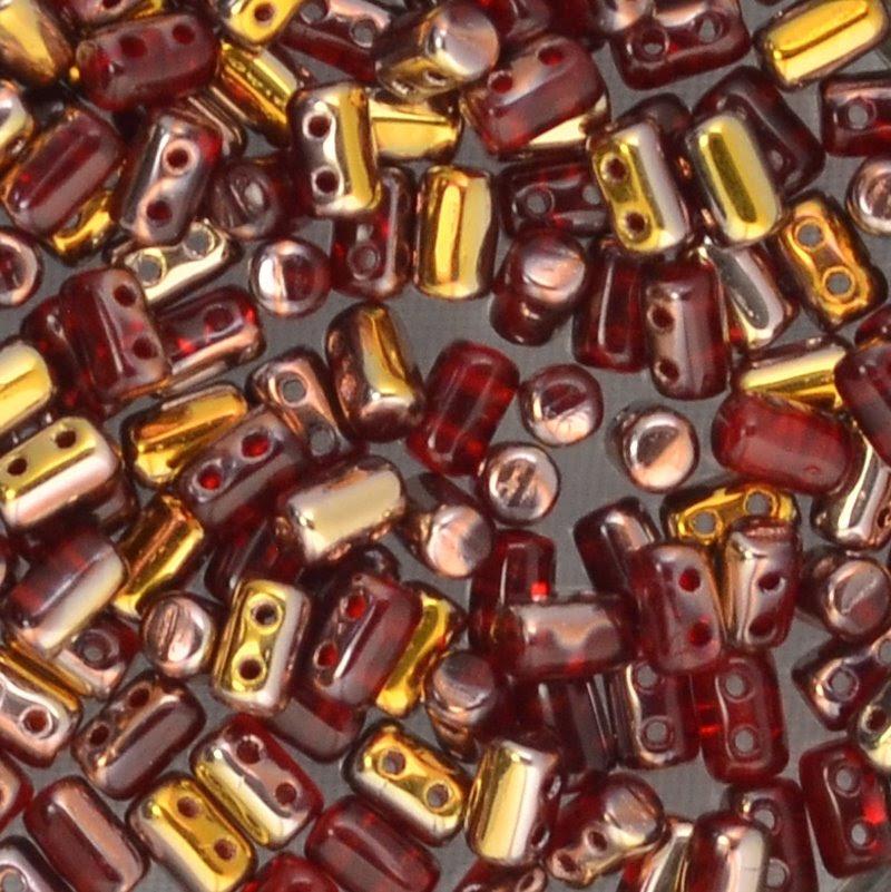 s44316 Czech Shaped Beads -  Rullas - Ruby Capri Gold