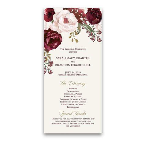 Floral Wedding Wedding Programs Fall Burgundy Gold