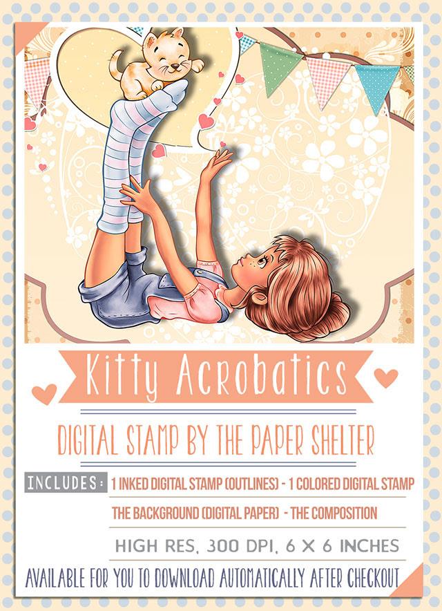 Kitty Acrobatics - Digital Stamp