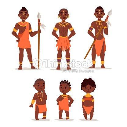マサイ族アフリカ人民族衣装幸せな人たちのベクトル イラスト ベクトル