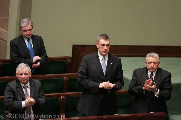 Premier Jarosław Kaczyński wicepremierzy Roman Giertych, Andrzej Lepper, Zbigniew Wassermann