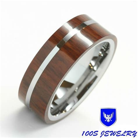 Mens Tungsten Wedding Band Ring Exotic Hard Wood Inlay