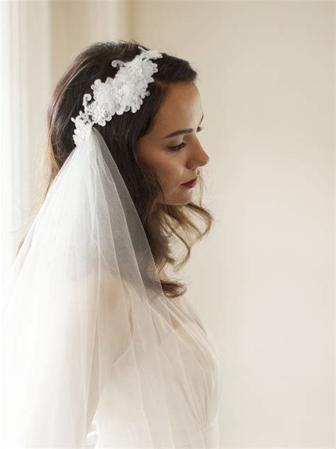Crystal Lace Headband with 2 Layer Side Wedding Veil