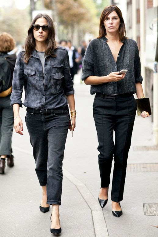 Le Fashion Blog Editor Street Style Pfw Capucine Safyurtlu Tucked In Button Down Shirt Grey Denim Cropped Black Pants Pointed Toe Flats Via Popsugar