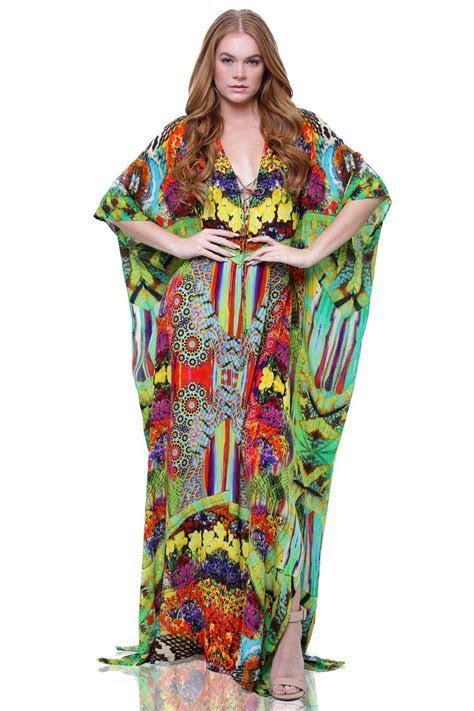 Long Silk Kaftans & V Neckline Dresses   Designer Printed
