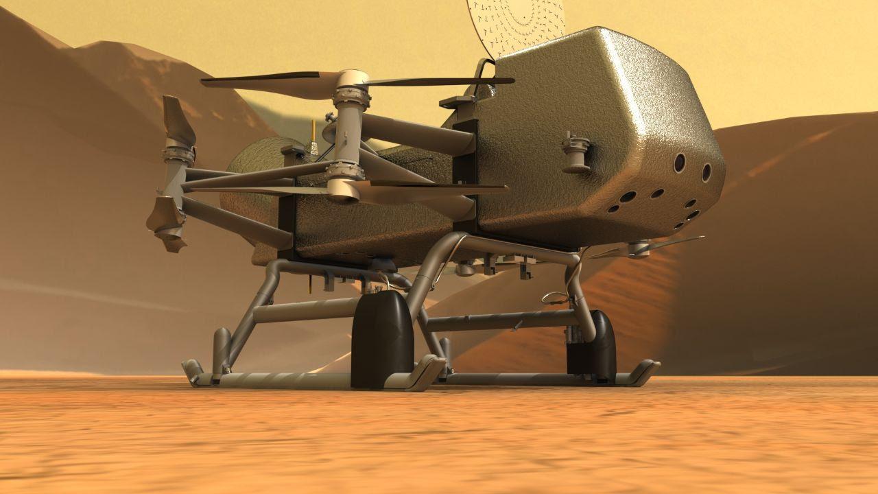 Artist's Impression of Dragonfly on Titan's surface. Image Credits: NASA/Johns Hopkins APL