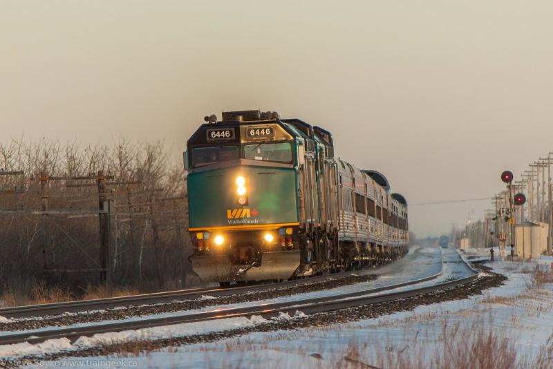 VIA 6446 at Carman Junction in Winnipeg