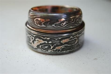 Hand Made Pattern Welded, Damascus, Woodgrain Wedding Band