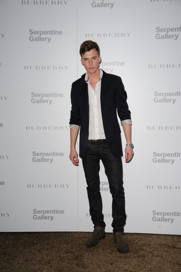 Burberry ad campaign model Johnny George attending the Burberry Serpentine Party