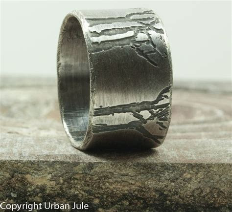Mens Wedding Band Tree Ring Sterling Silver Ring Etched