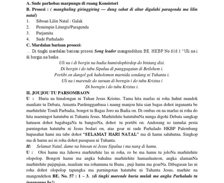 Votum Natal Sekolah Minggu Bahasa Batak / Acara Ibadah ...