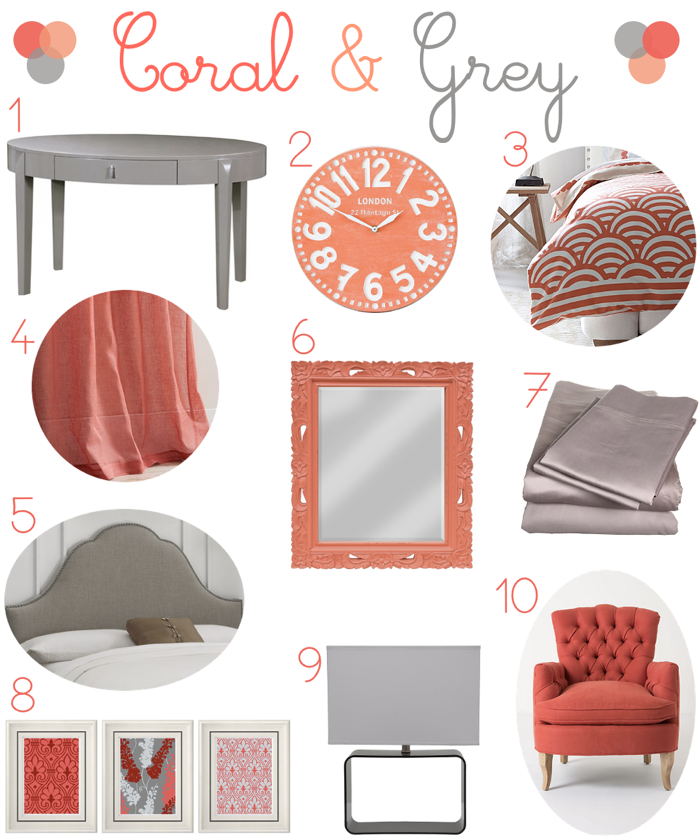 Coral And Gray Bedroom Decor | Peach of Mind