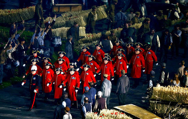 Taking part in the opening ceremony for the Olympics were the Chelsea Pensioners ¿ retirees from the British military.