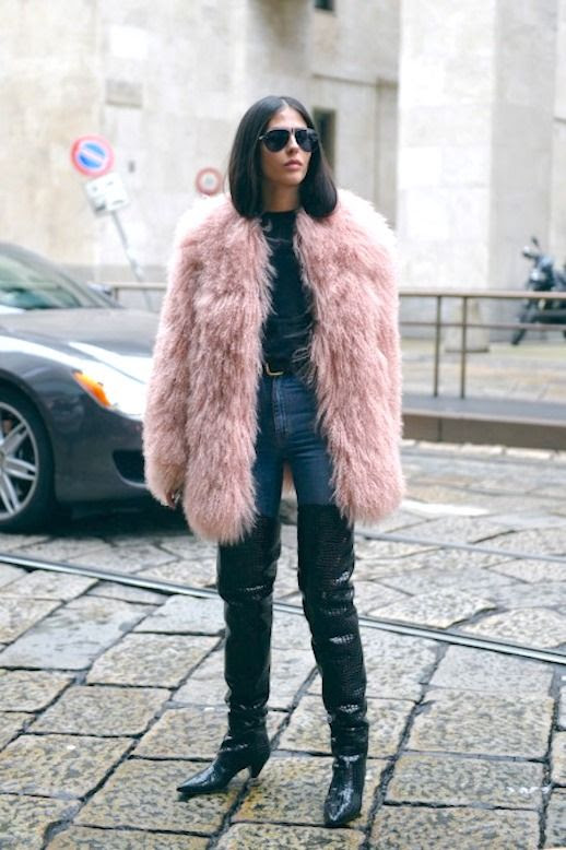 Le Fashion Blog Gilda Ambrosio Sunglasses Pink Fur Shaggy Coat Black Sweater Black Belt Skinny Jeans Thigh High Black Boots Via TheCut