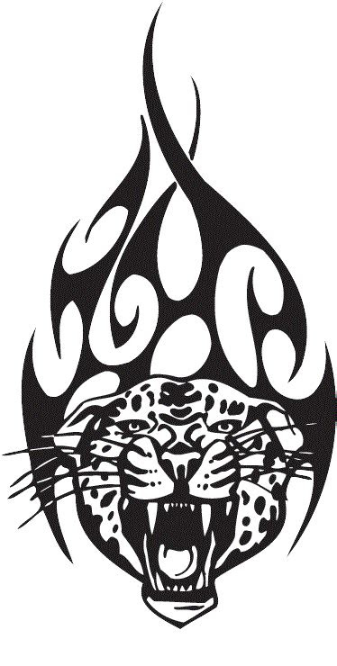 tribal aggressive roaring tiger face tattoo stencil design