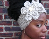 The Billie Holiday-Hand knitted Headband with Vintage Button