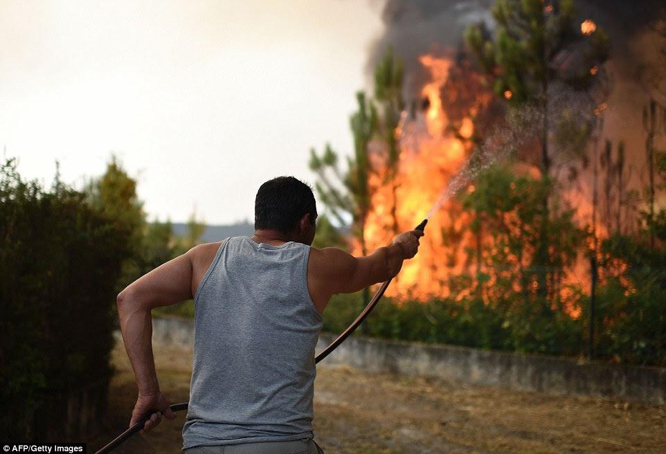 Grandes partes da Europa estão enfrentando incêndios ameaçadores depois de uma primavera seca e verão.  Este homem em uma vila perto de Macinhata do Vouga, no centro de Portugal usa uma casa de jardim insignificante para combater chamas em fúria perto de sua propriedade