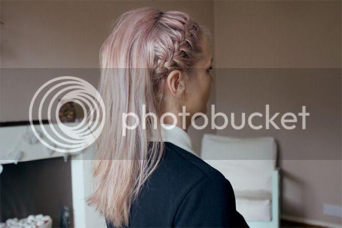 lilac pastel hair silver french braid