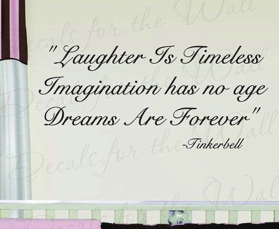 Tinkerbelle Laughter Timeless Peter Pan Girl Room Kid Baby Nursery Wall Decal Quote Vinyl Sticker Art Lettering Decor Decoration K61 on Etsy, $27.97