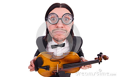 Funny man with music instrument