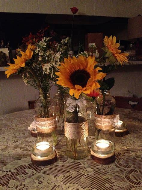 Diy Sunflower centerpieces.   Wedding ideas   Sunflower