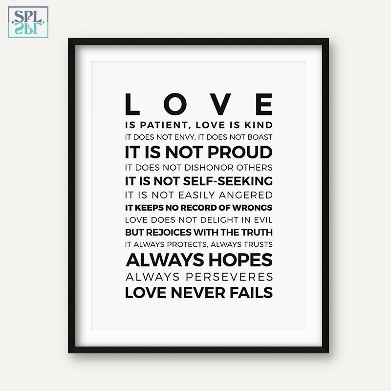 Bible Verse Quotes Posters And Prints Love Is Patientlove Is Kind