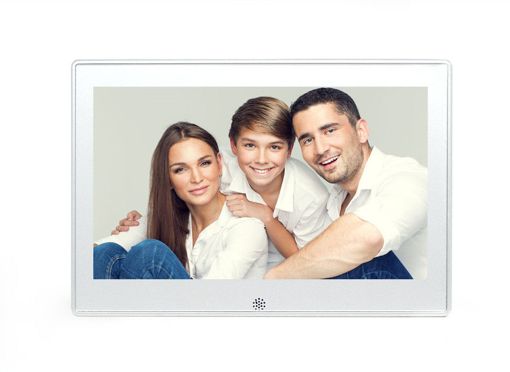 White 101 Inch Metal Battery Operated Digital Photo Frame Supports