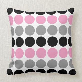 Pink, Gray, Black Retro Circles Pattern