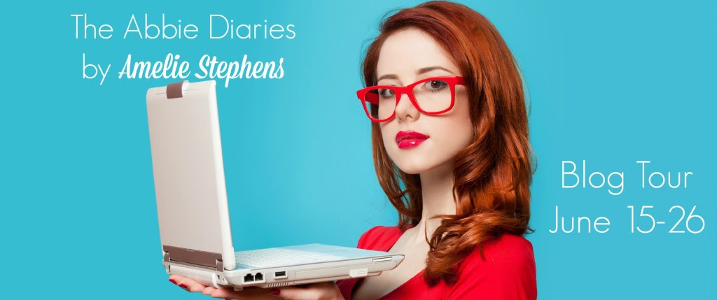Surprised redhead girl with laptop on blue background