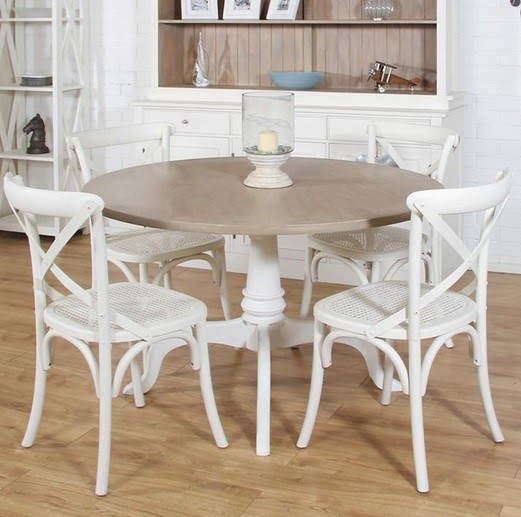 Round mango wood dining table and white painted chairs ...