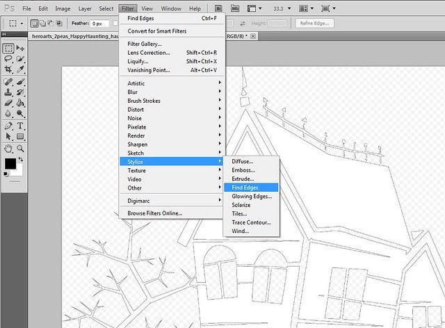 Step 2)  The find edges filter will create a thin outline (works with most solid images)