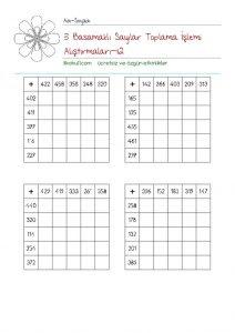 3 Basamaklı Sayılarla Toplama Işlemi Alıştırmaları Sınıf