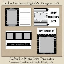 Valentine Photo Card Templates-FS-CU-PSD-PNG-Beckys Creations