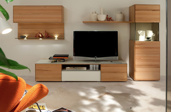 TV Stand Furniture with Wooden Wall Unit by Hulsta   Home Design ...