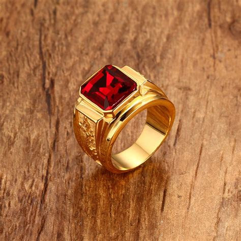 mens figment ring  red blue cz stone  gold tone