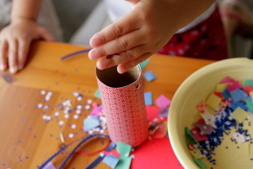 filling with confetti