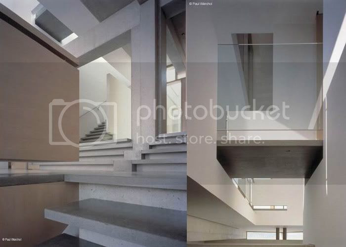 Shaw House, staircase from music room & glass railings for private areas