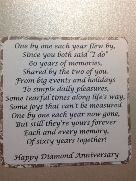 60th Anniversary Party Ideas. Of course this poem could be